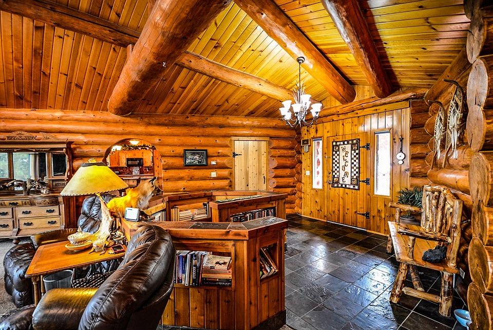 Log, Home, Cabin, Interior, Beans