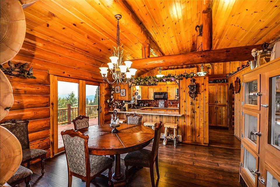 Rustic, Kitchen, Logs, Log, Home, House, Rural