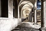 cloister, monastery, courtyard