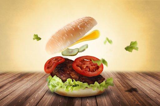 バーガー, ハンバーガー, 食べる, おいしい, ファーストフード, 食品