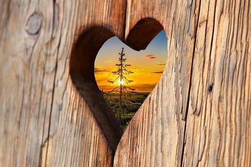 Heart, Wood, Love, Sunset, Romantic