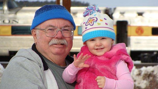 おじいちゃん, 孫娘, 雪, 楽しい, 幸せ, 祖父母, 祖父, にこやか