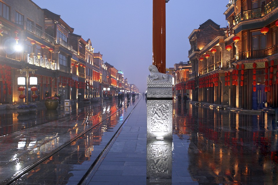 Pekin, Chiny, Drogi, Deszcz, Mokro, Refleksje, Azja
