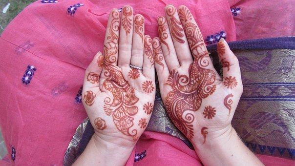 India Wedding Hands Henna Tattoo Pink Marr
