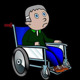 Charmant Wheelchair Ill Old Grandpa Lame Hospital W