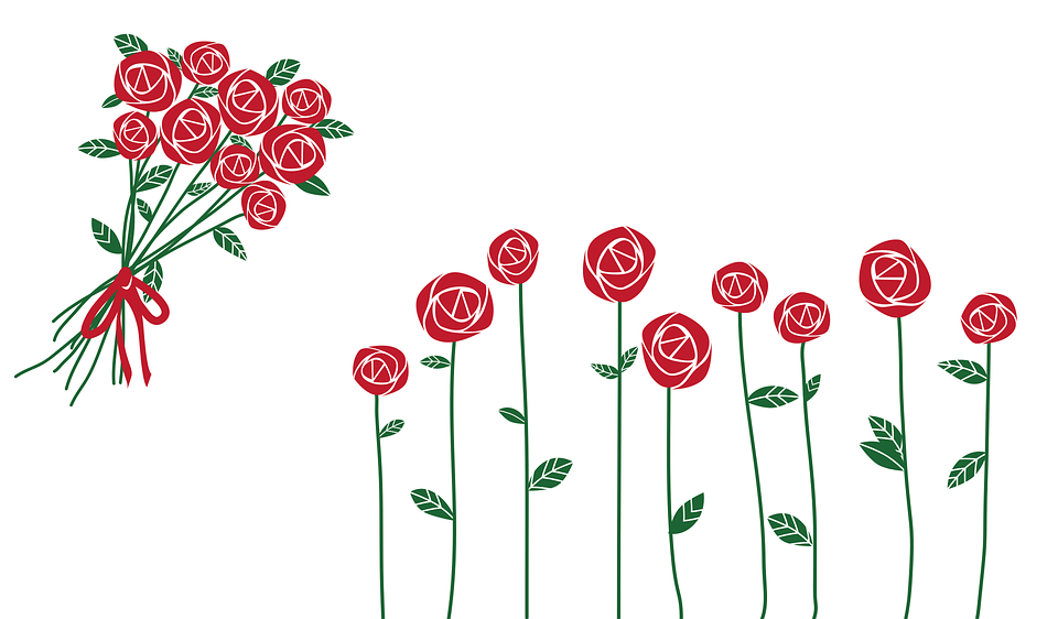 gambar bunga mawar kartun berwarna