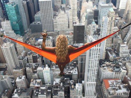 New York, Woman, Hammock, Relaxation