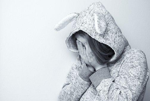 女性, 悲しい, 肖像画, 泣いている, 絶望的な, 意気消沈した, 泣く