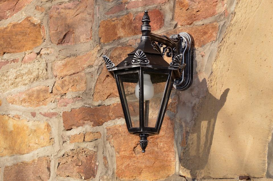 Lampe Laterne Licht Wand Steinwand Leuchten