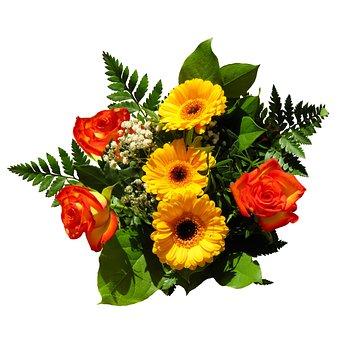 꽃, 꽃다발, 생일 꽃다발, 사랑, 즐거움, 하다, 장미, Gerbera
