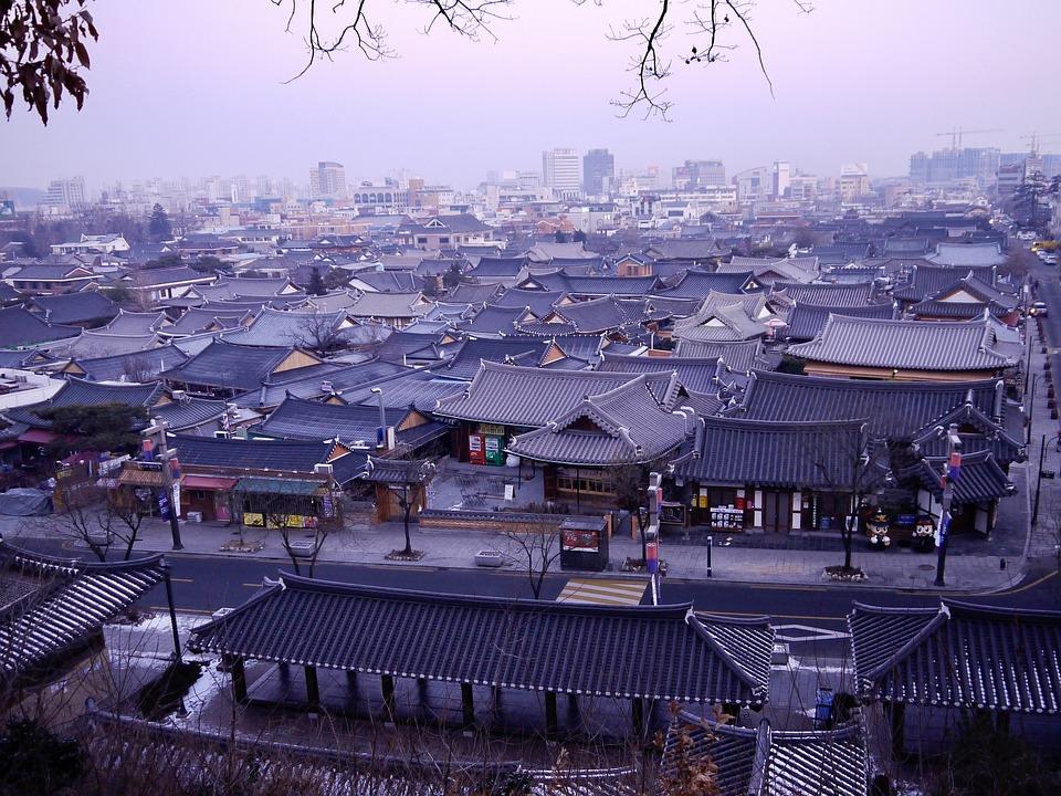 全州, 伝統的な都市, 韓国, 日の出, 町, 古い, 歴史