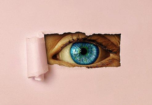目, 時計, 紙, 参照してください, アイリス, ビュー, 警戒, 穴