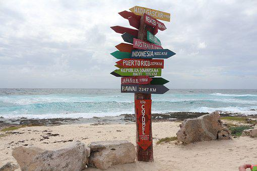 Beach, Mexico, Cozumel, Sign, Travel