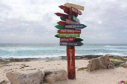 Beach, Mexico, Cozumel, Sign, Travel