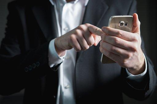 指, スマート フォン, 画面, 押す, 実業家, 電話, 携帯電話, 忙しい