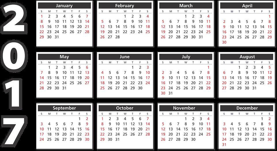 Free Vector Graphic Calendar 2017 Agenda Schedule