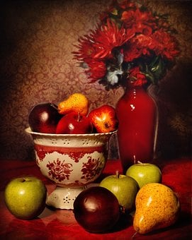 Still Life, Fruit, Maroon, Flowers