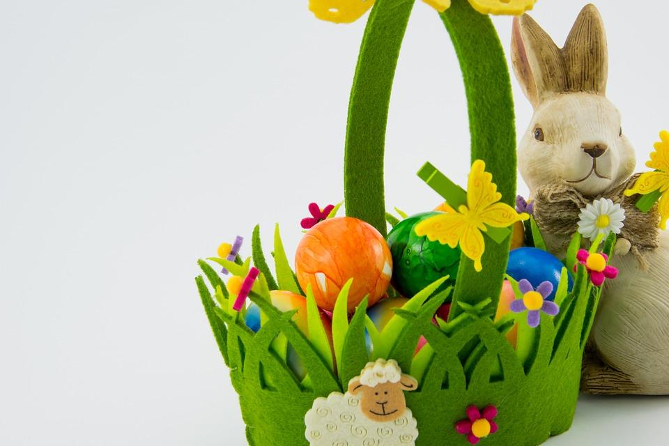 Ostern, Korb, Ostereier, Farbig, Eier, Bunt, Farbenfroh