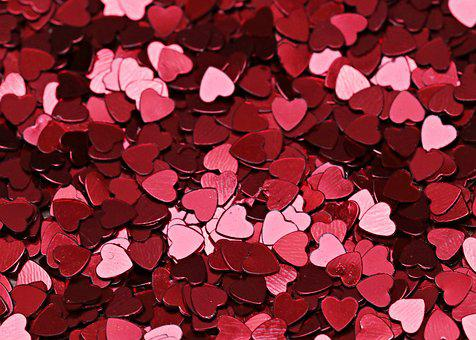 Background Texture Heart Red Close Up