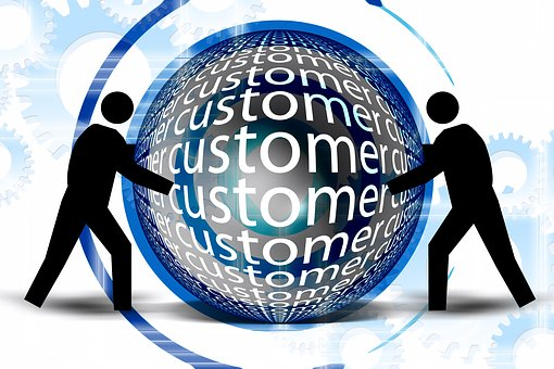2 silhouettes on either side of a globe surrounded by a blue halo and with customer written all over it