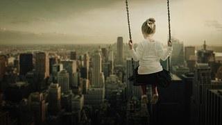 Girl, Swing, Rock, Skyline