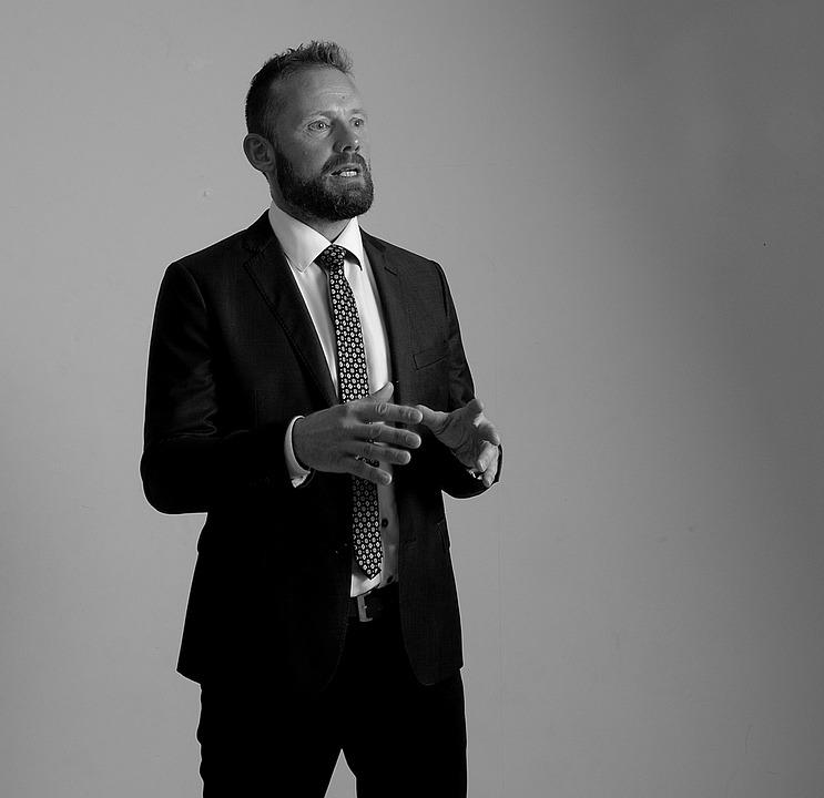 Portrait, Man, Beard, Speech, Black And White