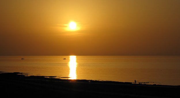 Sunset, The Sun, West, Light, Sea