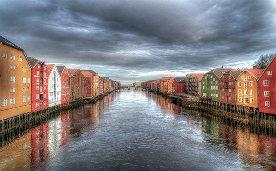 Trondheim, Norvegia, Fiume, Nuvole