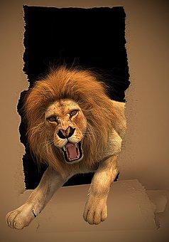 Lion Roar Frame Paper Torn Unwound Ph