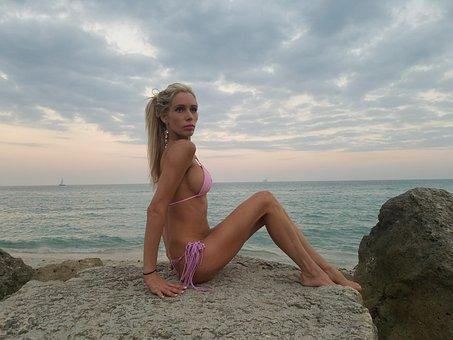 Girl, Beach, Blonde, Sunset, Bikini
