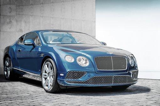 ベントレー, 車, 高価な, 豪華な, リッチ, ライフスタイル, 青, 最小限
