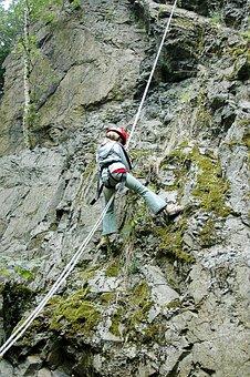 Climb, Abseil, Steep, Descent, Wall