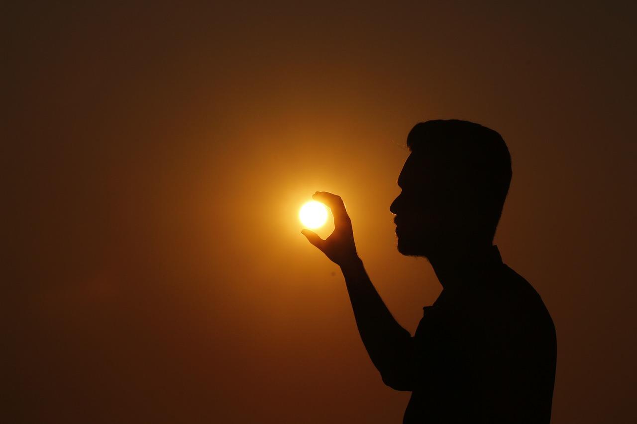 картинки закатов тени человека