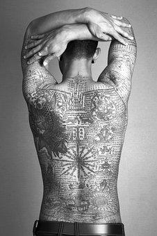Man Tattoo Thai Traditional Bamboo Stick B