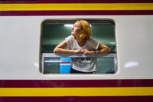 Train, Old, Vintage, Women, Woman, Girl
