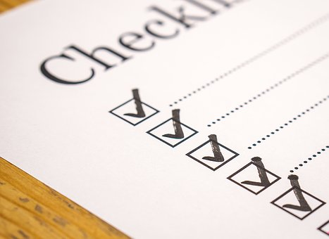 Checklist with ticked lists to signify survey