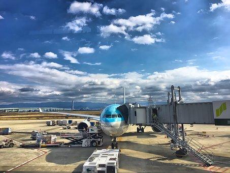 飛行機, 空港, 大韓航空, に散在の雲