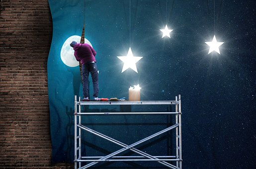 Moon, Star, Craftsmen, Wallpaper, Night