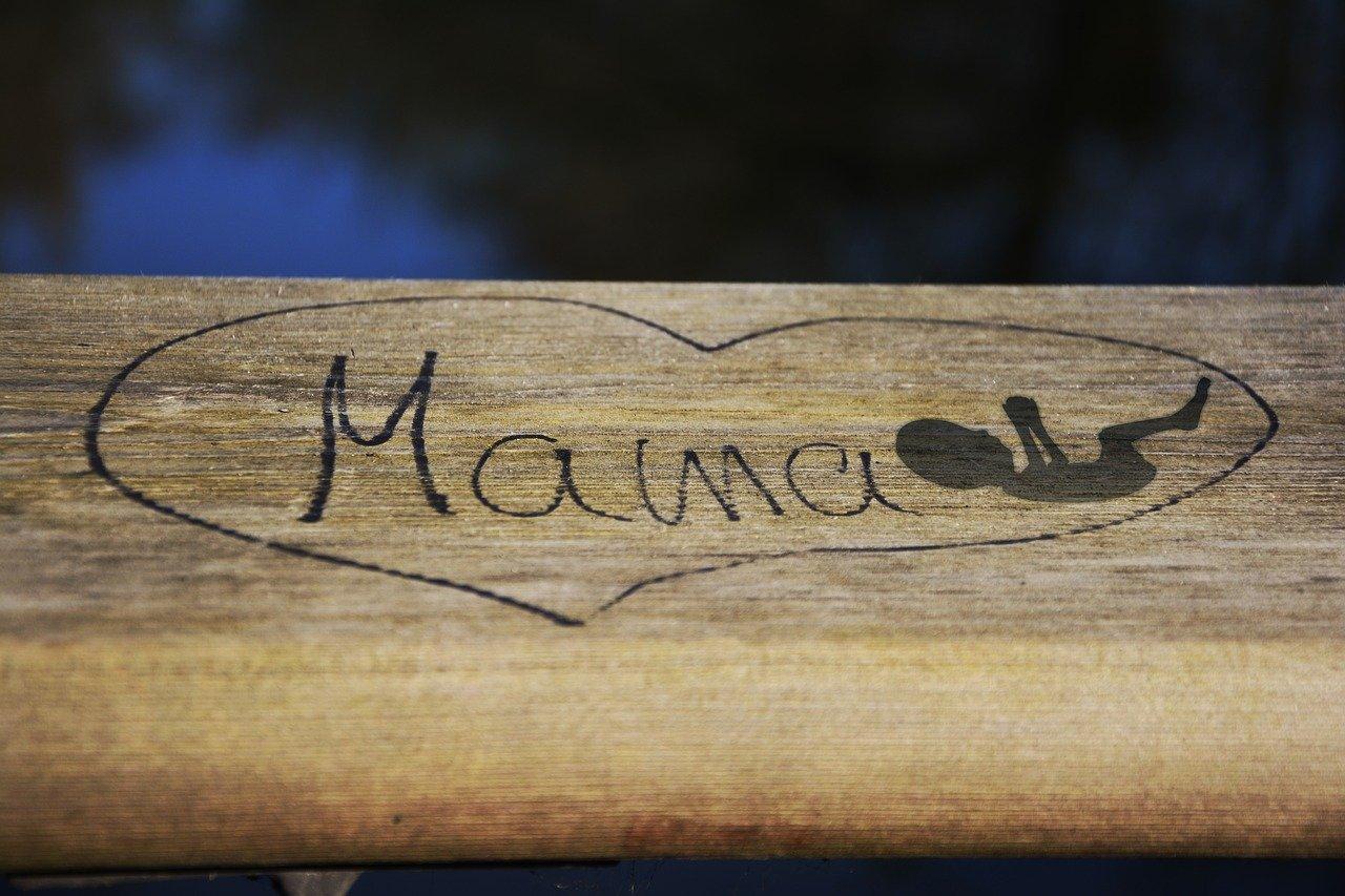 vandalized wood with mama