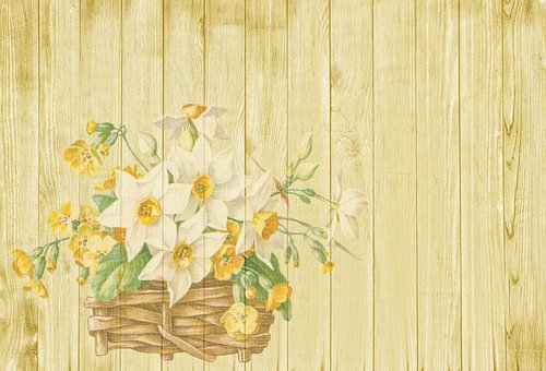 Background Easter Spring Flowers Bask