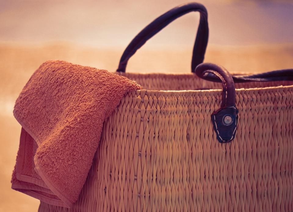 Saco De Praia E Toalha, Verão, Sol, Férias, Relaxar