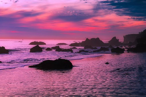 Malibu, California, Sunset, Dusk, Sky