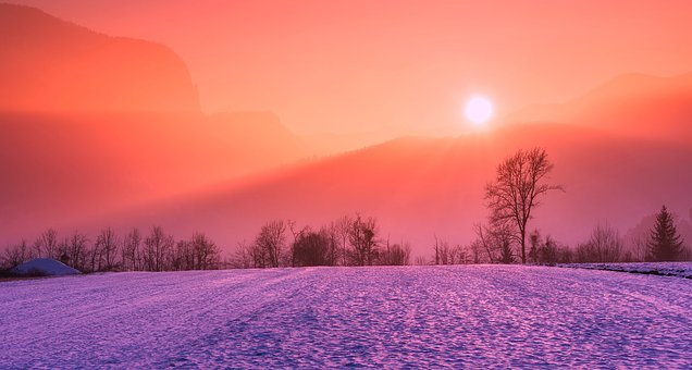 Winter, Snow, Sunrise, Sunset, Colors