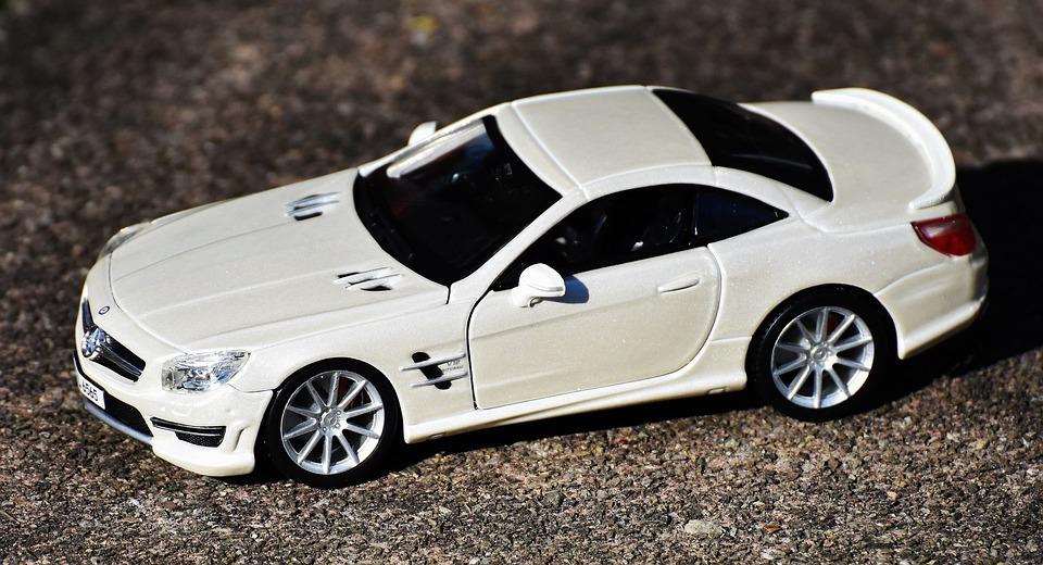 メルセデスベンツ, プラモデル, スポーツカー, 白, スポーティです, モデル, 自動, 車両