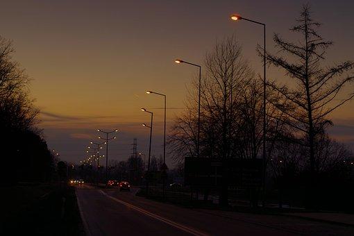 Rua, Lâmpada, Iluminação, Carros, Noite