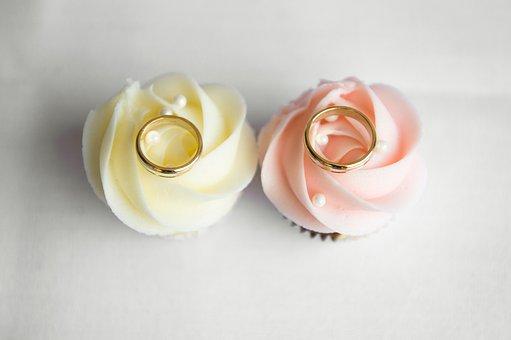ケーキ, カップケーキ, 祝賀会, ウエディングケーキ, 結婚式, 結婚指輪
