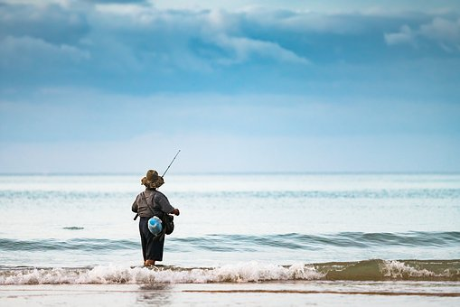 Fisherman, Ocean, Female, Woman, Fishing