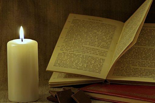Livre, Bougie, Lire, Vieux, Blackletter