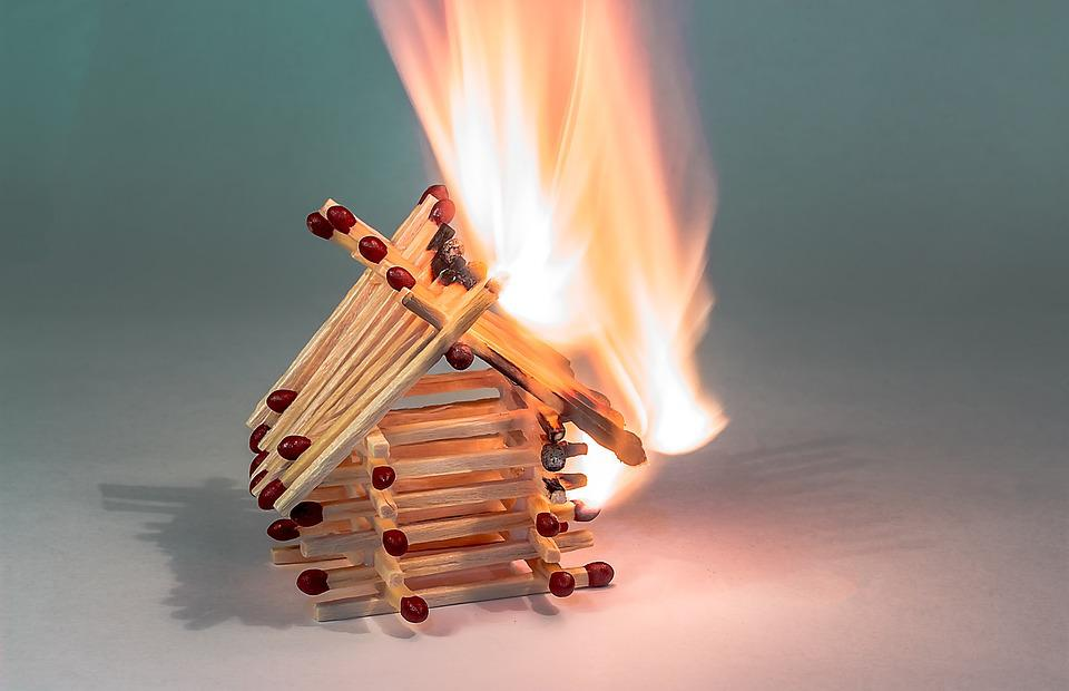 Fire, Matchstick House, Burning Matchstick House