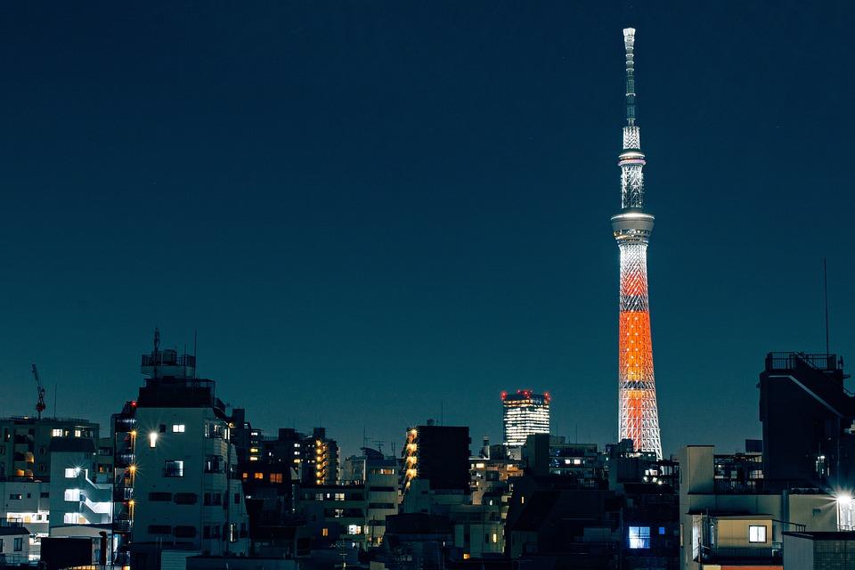 東京, スカイツリー, 日本, 都市の景観, 市, アーキテクチャ, タワー, ランドマーク, 泊, 青い街